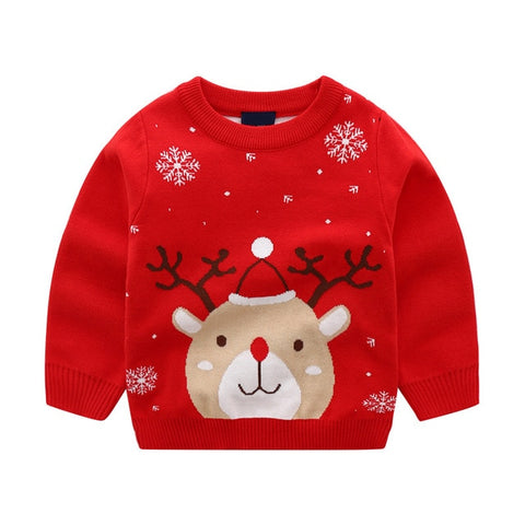 Girls Christmas kids long sleeve Elk snow tops sweater Xmas knitting cotton 100% outwear toddler children clothes 2-8Y