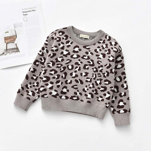 Toddler Girls Sweaters New Fashion Kids Leopard Print Girl Boy Clothes Toddler Girl Costumes 2-7T Baby Girls Outerwear