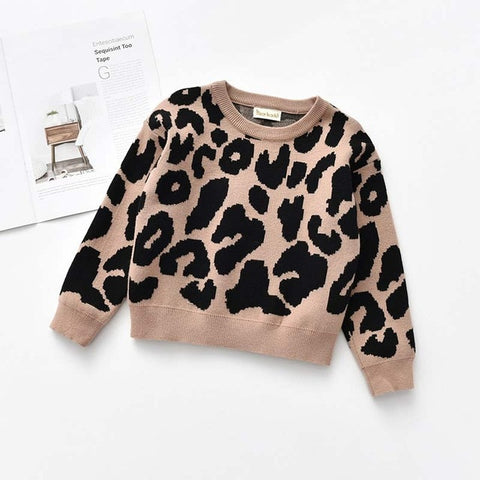 Bear Leader Girls Sweaters New Fashion Kids Leopard Print Girl Clothes Girl Costumes 2-7T Baby Girls Outerwear