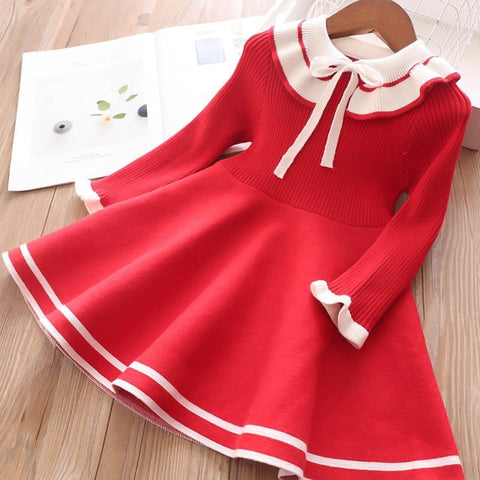 Bow Red girls sweater dress toddler sweater  top sweater Costume party sweater dress