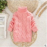 Girls Autumn and Winter New Children's Sweater Round Neck Sweater Girls Thickening Bottoming Turtleneck Sweater Toddler Sweater