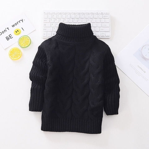 Toddler Girls Autumn and Winter New Children's Sweater Boys Round Neck Sweater Girls Thickening Bottoming Turtleneck Sweater Toddler Sweater
