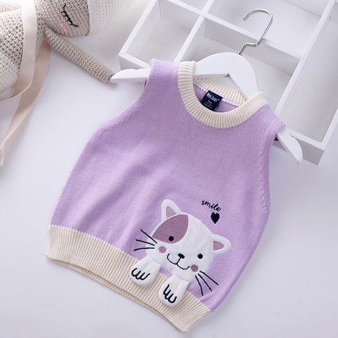 Girls cute cat pattern kids sweaters vest  girls sweaters  toddler girl sweater boys clothes