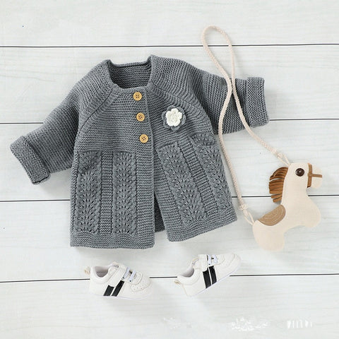 Baby Sweater Knitted Kids Girls Toddler Solid Sweater Cute Infant Single Breasted Cardigan Kids Newborn Clothes