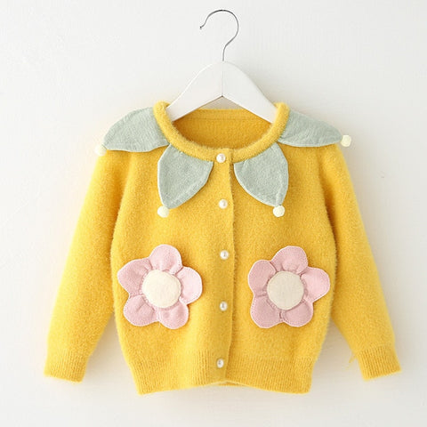 Girls Sweaters Fall Petal Collar Toddler Baby Girls Cardigan Sweaters Knitted Flowers Appliques Chidlren Outwear Kids Coat 1-5Y