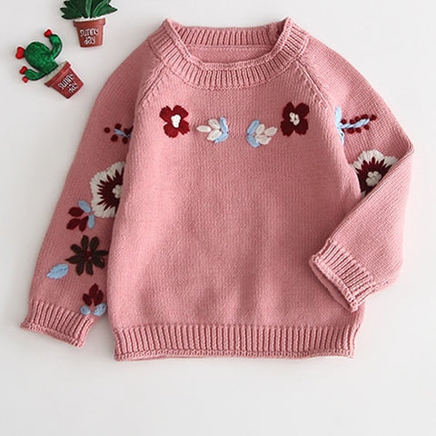 Toddler Girls Winter Thick White Red Pink Cardigan Wool Coat Newborn Girl Boy Knitted Sweaters Embroidery Flower Knitwear Coat