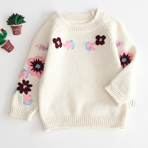 Baby Girls Winter Thick White Red Pink Cardigan Wool Coat Newborn Girl Boy Knitted Sweaters Embroidery Flower Knitwear Coat
