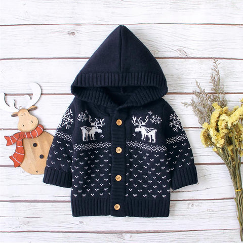 Toddler Boys Sweater 0-24M Newborn Christmas Cardigans Button Up Toddler Kids Knitted Jackets & Coats Long Sleeve Infant Boys Girls Wear