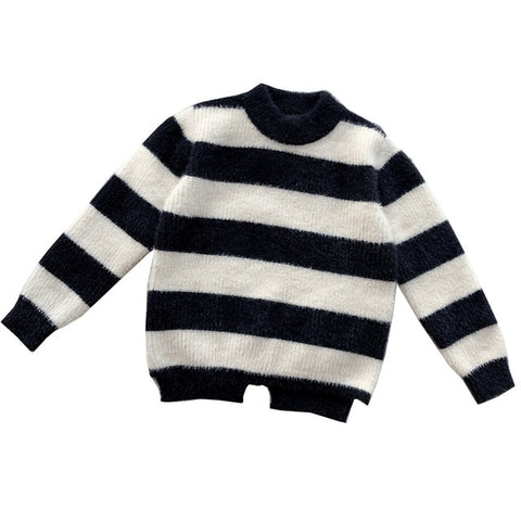 Amya Toddler Girls Winter Tops Knitted Black White Striped Little Girls Sweaters Fashion Children Clothing Fall Toddler Sweater