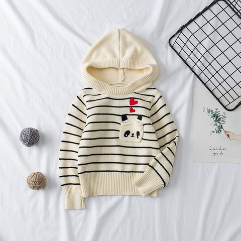 Toddler Girls Children Clothing Hoodies Kids Clothes Toddler Girls Sweaters Stripe Embroidery  Children T-Shirt Knitted Cartoon Sweater