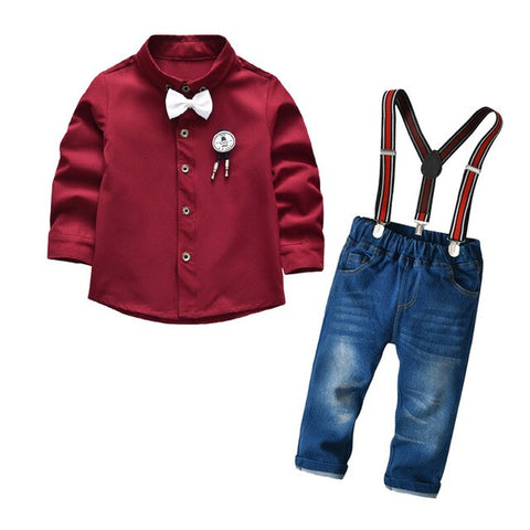 Toddler Boy Clothes Set Cool 2PCS Burgundy Shirt+ Jean Pant Overall Outfit Age 2T-7 Bib Overall Long Sleeve Child Newborn boy clothing suit