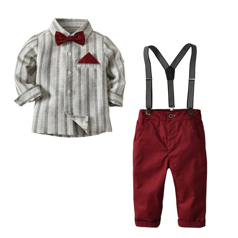 Kid Boy Clothes Set Cool 2PCS Burgundy Suit Outfit Age 2T-7 Bib Overall Long Sleeve Child Newborn boy clothing suit