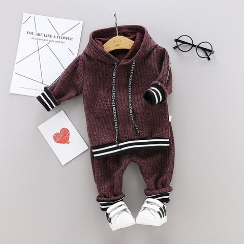 Spring Autumn Boy Baby Clothes Set Long Sleeve Striped Hoodies Tops Pants 2 Piece Set Fashion Casual Suit Kids Clothes