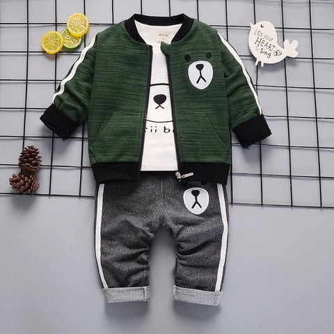 Toddler Boys Clothes Children Cotton Jacket Pants 3Pcs/Set Toddler Fashion Clothing Infant Kids Tracksuits