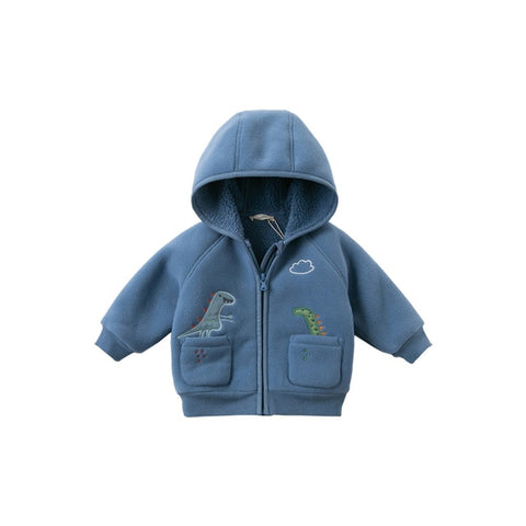 DBW15109 dave bella winter baby boys fashion zipper pockets cartoon hooded coat children casual tops infant toddler outerwear
