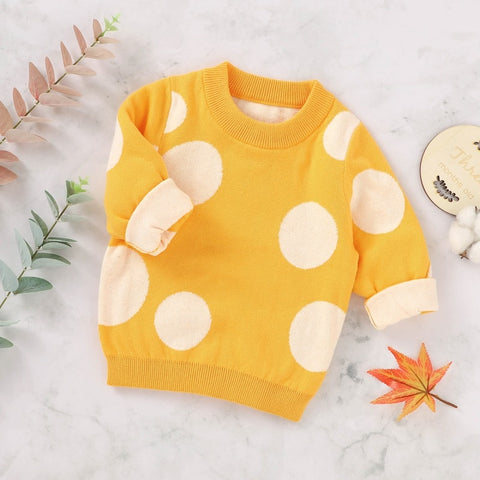 Baby Kids Casual Sweater Baby Boy Girl Dot Print Cotton Knitted Sweater Winter Outerwear Clothes Tops Pullover
