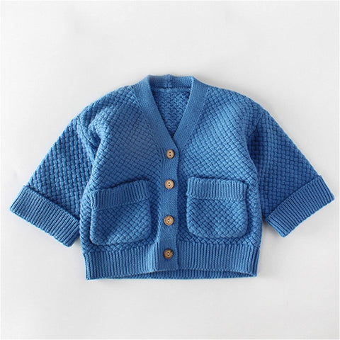 Toddler Kids Baby Girls Boys Sweaters Tops Autumn Winter Clothes Cardigan Button-Down Long Sleeve Kids Sweaters Outwear Cotton