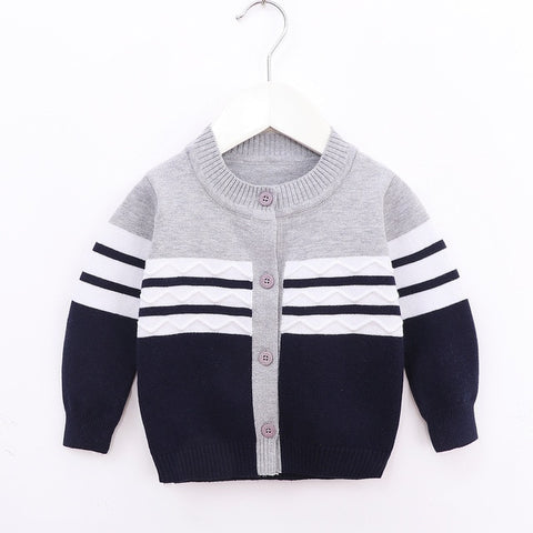2020 Fall Spring Newborn Baby Girls Boys Clothes Toddler Long Sleeve Round Neck Sweaters Kids Single-breasted Striped Coat 0-24M