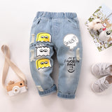 HIPAC Kids Clothes Girls Denim Pants Toddler Casual Leggings for Boys Children Fashion Pattern Jeans Boy Girl Classic Bottoms