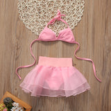 1-6Y pink color Swimsuits Sling Flower Tops+Ball Gown mesh Skirts 2pcs Swimwear Set for Toddler Kids Baby Girls Summer Beachwear