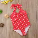 Summer Toddler Swimwear Girls Swimming Costume Bikini Baby Biquini Beachwear Newborn Halter Polka Dot One-Piece Swimsuit