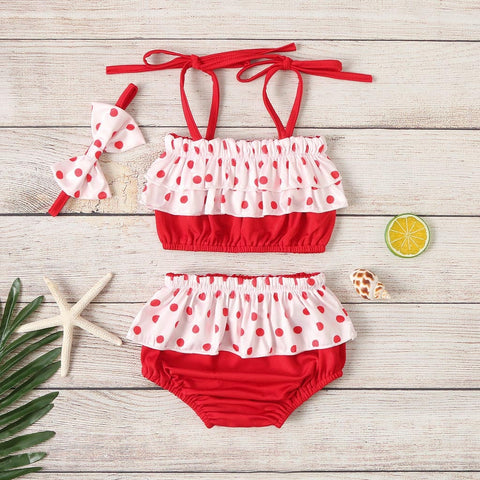 Child Kids Girl Bikini Summer Kids Baby Girls Swimsuit Sleeveless Dot Ruffle Swimwear Summer Casual Swimsuit Outfits