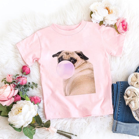 24M 3T 4T 5T 6T 7T 8T 9T Toddler Shirt Rabbit Bubble Blowing Cartoon Girls Boys Tshirt Spoof Girl T Shirt Children Clothes Cool
