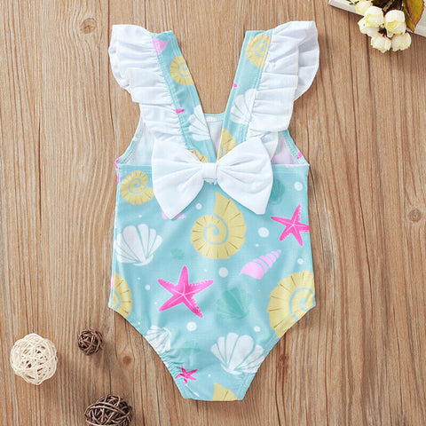 Cartoon Shell Starfish kids girl swimsuit baby girl swimwear beach bathing suits children toddler girl one piece ruffle swimsuit