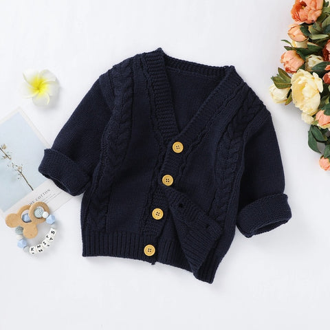 Pudcoco Toddler Baby Girls Boys Cable Knit Cardigan Cute Long Sleeve Button up Solid Sweaters Winter Warm Coat