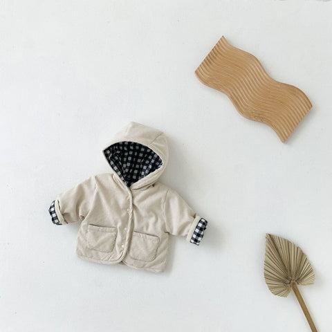Winter Baby Boys And Girls Coat Fashion Plaid Thickened Warm Cotton Corduroy Coat Kids Double-sided Casual Hooded Jacket