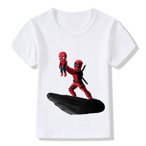 Kids The Deadpool/Darth Vader/Cuphead King Funny T-Shirt Baby Cartoon Clothes Boys and Girls Summer White T-shirt