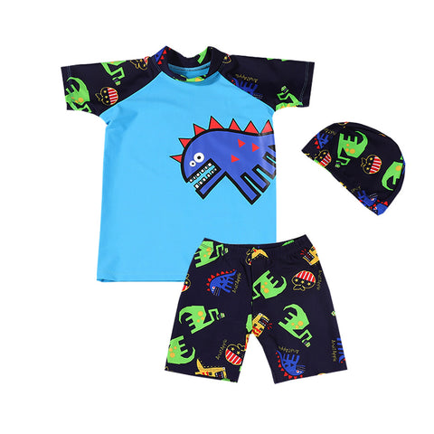 Imcute 2020 Boys Swimming Trunks Kids Swimsuit Boys Dinosaur Swimming Trunk Set With Cap Children's Swimwear Children Swimsuits