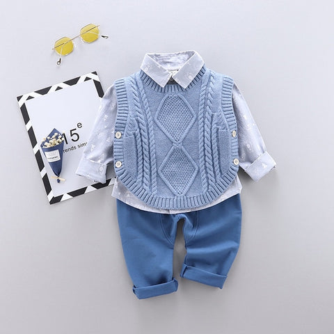 Kids Casual Suit 2020 Autumn New Children's Suit Cotton Boys Long-sleeve Shirt Sweater Vest Trousers 3Pcs Baby Clothes 0-4 Years