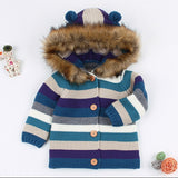 Ircomll Children's Coat Sweater for Boy Girl Striped Fur Hooded Warm Knitted Jacked Infant Baby Cardigans 0-3Y
