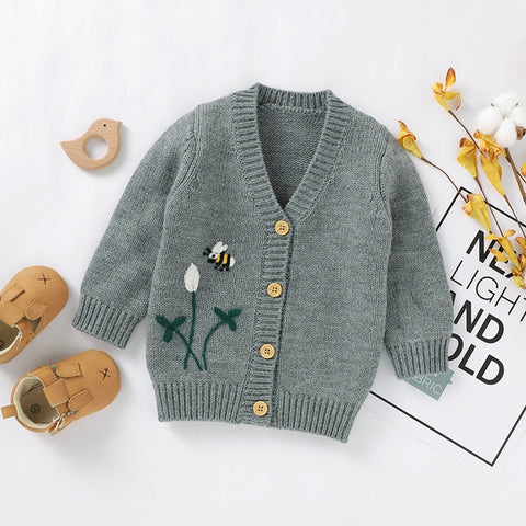 Toddler Girls Boys Cardigan Sweaters Cute Floral Bee Embroidery Sweaters Long Sleeve Button up Sweaters Coat