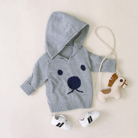 0-18M Newbron Baby Sweater Kid Boy Girl Autumn Winter Warm pullover Knitted Top Long Sleeve Hooded Knitwear Cute Outfit