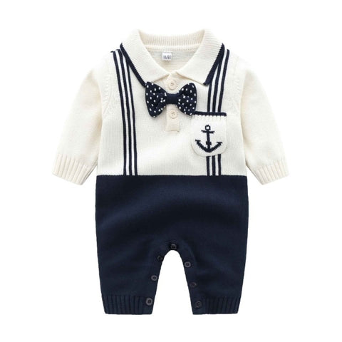 Baby Rompers Fashion Turn-Down Neck Long Sleeve Newborn Bebes Sweaters Jumpsuits for Infant Kids Boys One Piece Playsuits Outfit