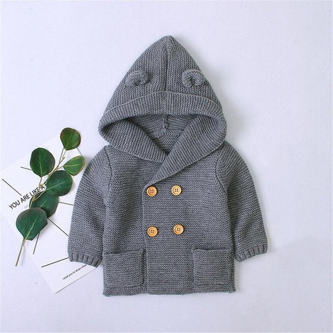 Baby Boys Sweaters Kids Sweaters For Winter Knitted Hooded Solid Color Girls Sweaters Kids Knitwear Children Sweater Outfit Coat