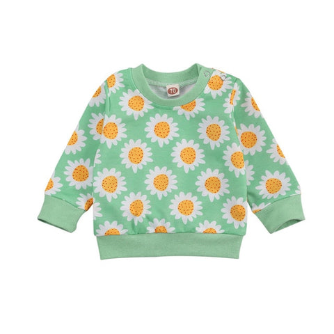 Blotona Newborn Baby Sunflower Print Sweater, Autumn and Winter Baby Long Sleeve Round Neck Pullover Sweatshirts Tops 0-3Y