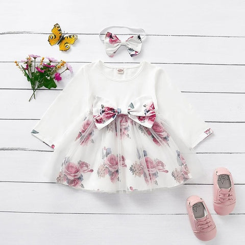 Baby Girl Fall Dress Free Shipping Toddler Clothes 18 Months Long Sleeve Flower Print Bow-tie Tulle Dress Birthday Party Outfits