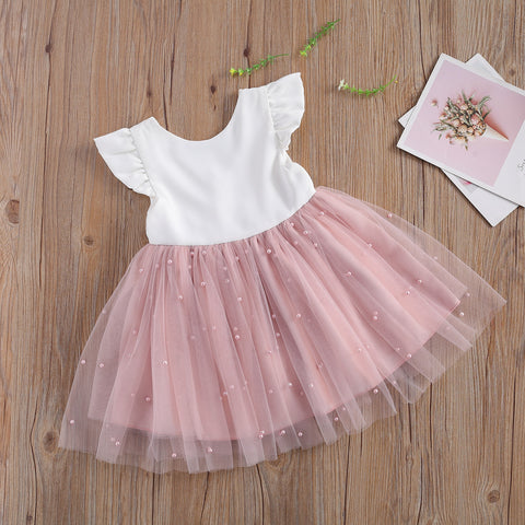 Ma&Baby 6M-5Y Princess Toddler Kid Child Girl Tutu Dress Pearl Tulle Party Wedding Birthday Valentines Day  Dresses For Girls