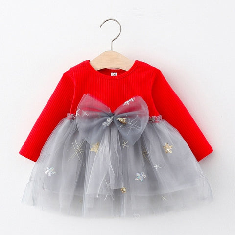 Keelorn Baby Girl Princess Dress Sweet Spring Bow Clothes Long Sleeve Christmas Linens Children Dress Casual Girl Fall Vestidos