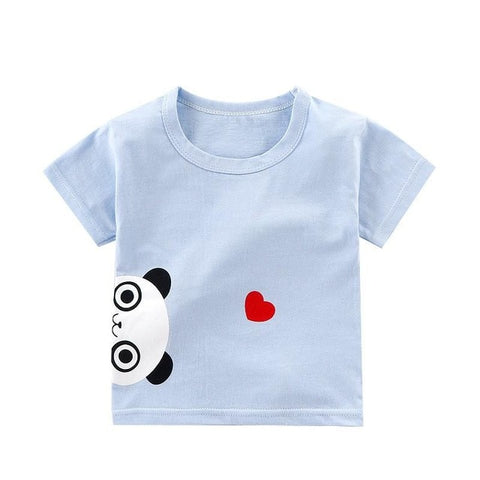 Kids T Shirt Baby Girls Short Sleeved Cartoon T-shirt Boys Tops Infant Birthday Shirt Children Cotton Outfits Cheap Stuff