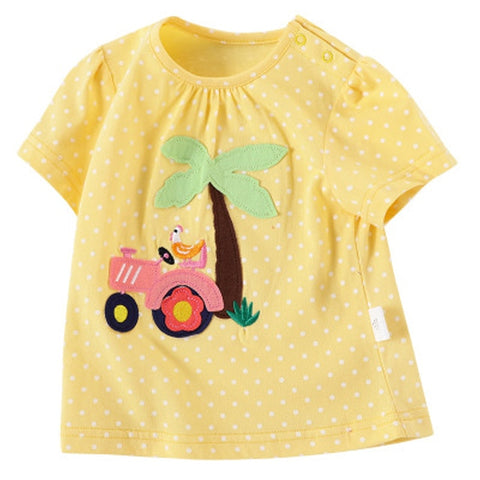 2020 summer baby girl tops cotton Cartoon animal baby girl shirt Short sleeve shark t shirt baby girl 3-18m