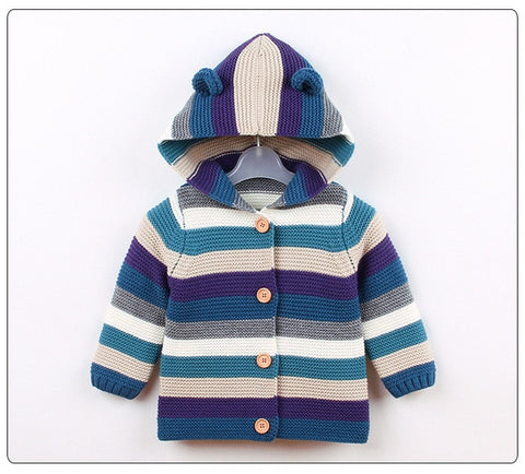 Baby Girls Cardigan Autumn Winter Toddler Girls Sweater Hooded Stripe Boys Sweater Infant Girls Boys Cardigans Baby Pullovers Clothes
