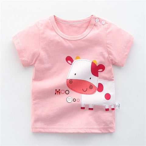 Casual Infant Baby Girl T-shirt Summer Short-sleeved Cute Cartoon Printed Tees 100% Cotton Todder Tops