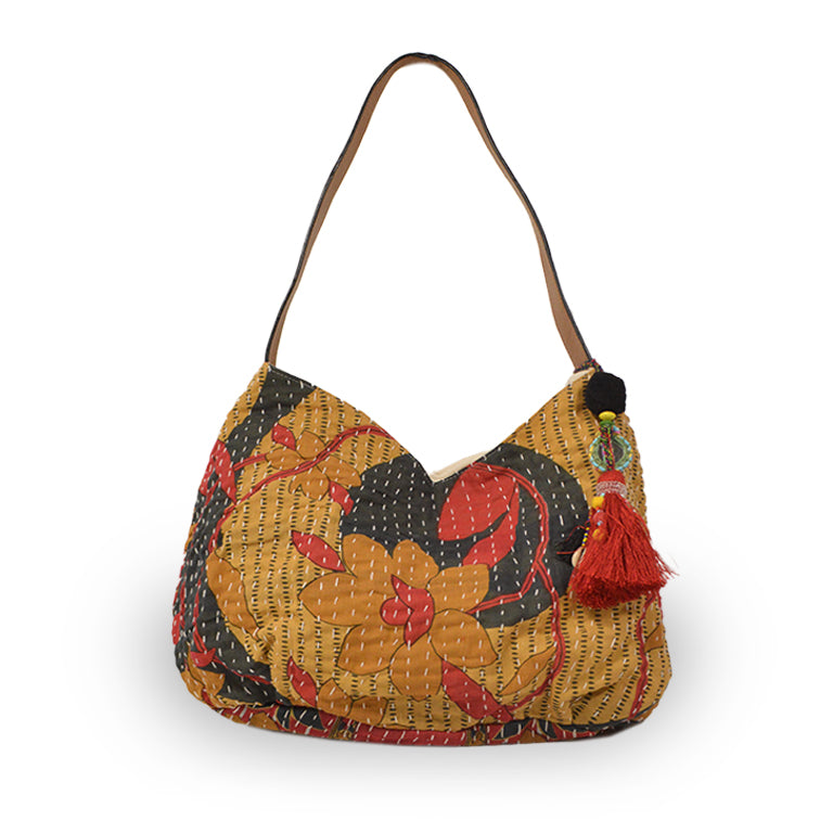 Floral print tote with kantha stitching on its side, Vivienne Kantha Tote.