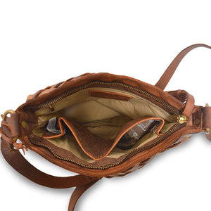 Inside of leather bag, Aaralyn Crossbody Bag.