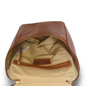 Inside of backpack, brown, Addie Leather Backpack.