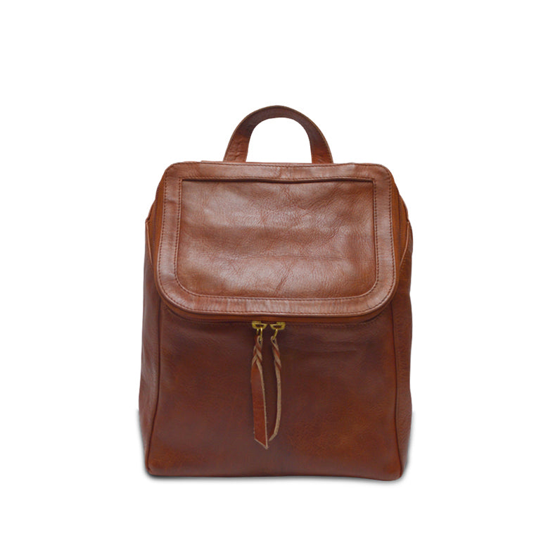 Small brown leather backpack, front view of bag, Addie leather Backpack.